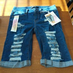 New Wax Jean Distressed Bermuda shorts SZ S